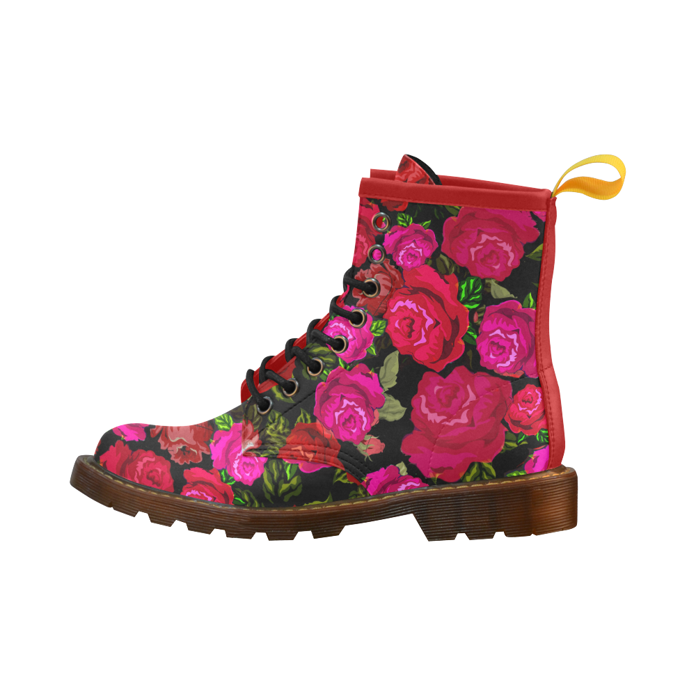 Red and pink rose DM style vegan leather boots
