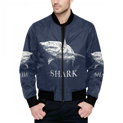 All Over Print Quilted Bomber Jacket for Men (Model H33)