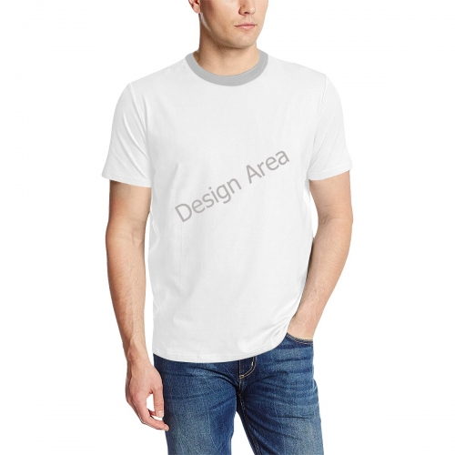 Men's All Over Print T-Shirt (Solid Color Neck) (Model T63)