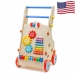 Adjustable Wooden Baby Walker Toddler Toys with Multiple Activity Toys Center - Wood color