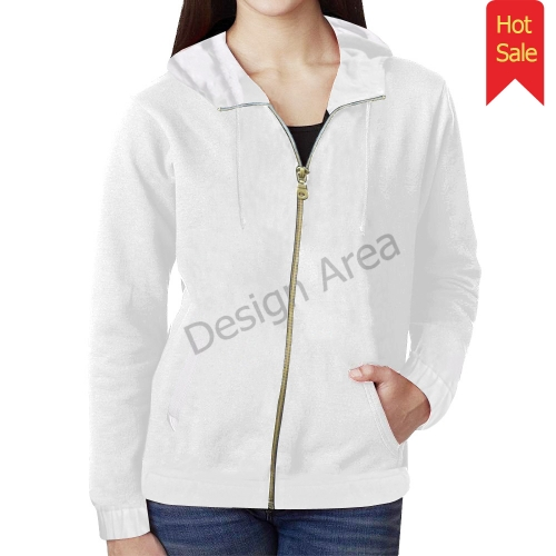 All Over Print Full Zip Hoodie for Women (Model H14)