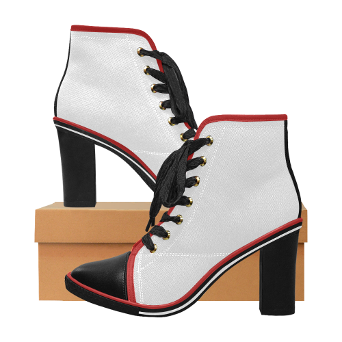 Women's Lace Up Chunky Heel Ankle Booties (Model 054)