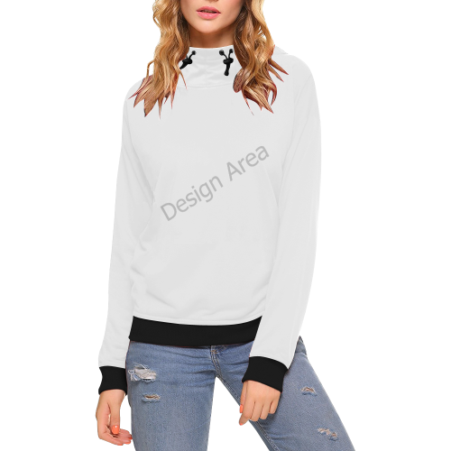 High Neck Pullover Hoodie for Women (Model H24)