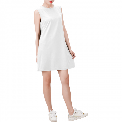 Sleeveless Round Neck Shift Dress (Model D51)