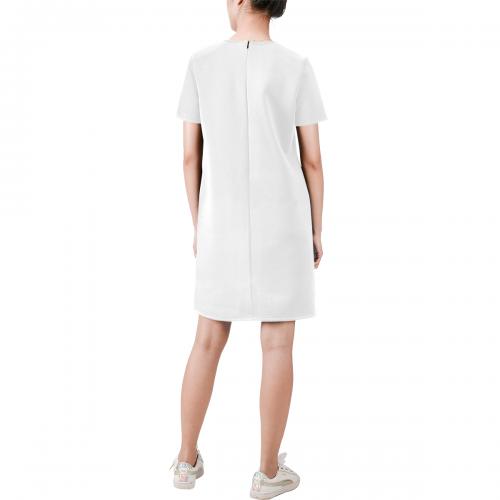 Short-Sleeve Round Neck A-Line Dress (Model D47)