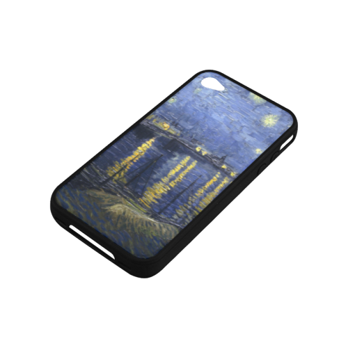 Blue Sky Golden Stars Reflection In The Water paint Rubber Case for iPhone 4/4s