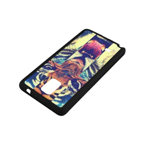 Tiger Head Cross Pattern Rubber Case for Samsung Galaxy Note 4