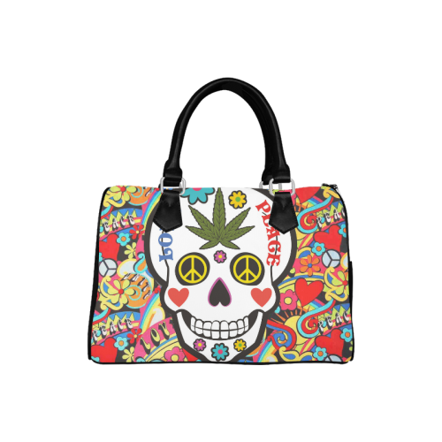 I Love Peace Skull Pattern Boston Handbag (Model 1621)
