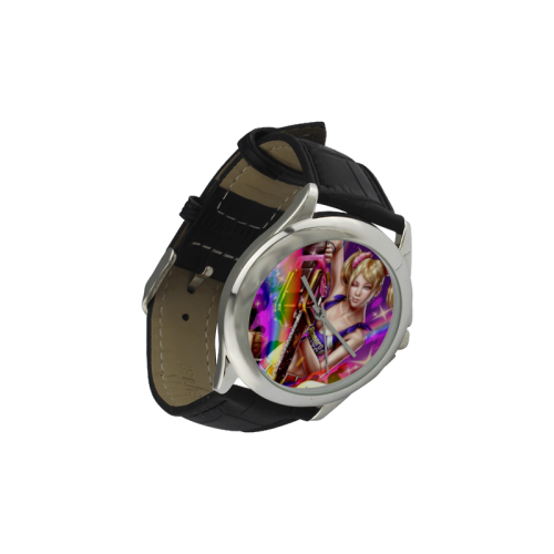 Lollipop Chainsaw Women's Classic Leather Strap Watch(Model 203)