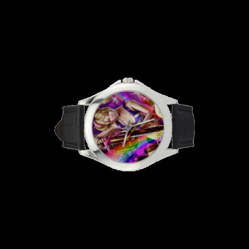Lollipop Chainsaw Women's Classic Leather Strap Watch(Model 203)