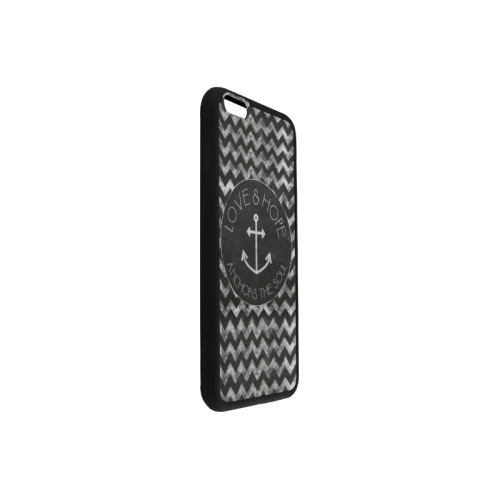 Black Chevron And Anchor Sign Rubber Case for iPhone 6/6s Plus