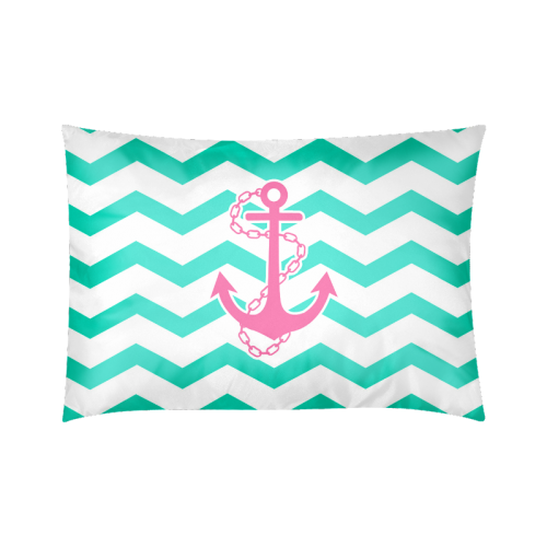 "Anchor Chevron Custom Zippered Pillow Cases 20""x30""(Twin Sides)"