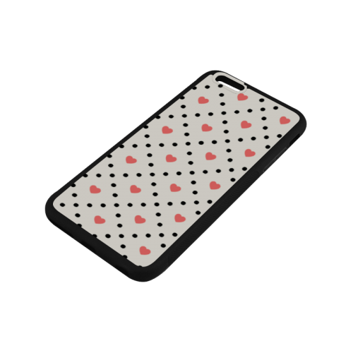 Black Polka Dot And Hearts Rubber Case for iPhone 6/6s Plus