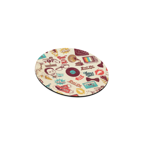 Vintage Pattern With Gramophone Round Coaster