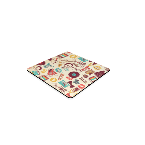 Vintage Pattern With Gramophone Square Coaster