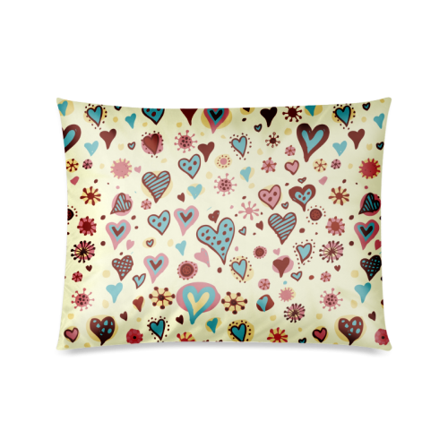 "Lovely Heart Pattern Custom Zippered Pillow Cases 20""x26""(Twin Sides)"