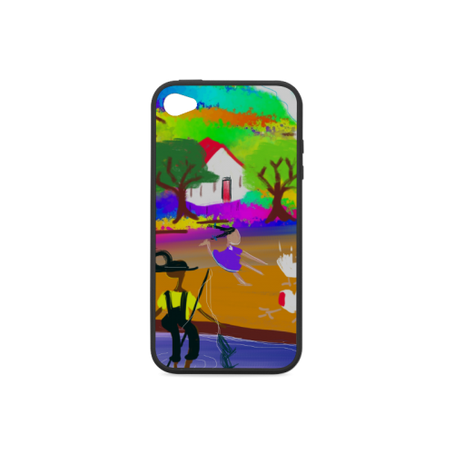 A day at the Fishing Hole by Nina Spencer Fine Fol Rubber Case for iPhone 4/4s