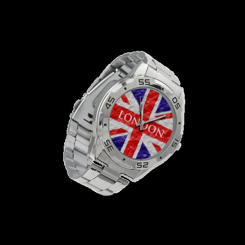 Union Jack Flag Men's Stainless Steel Analog Watch(Model 108)