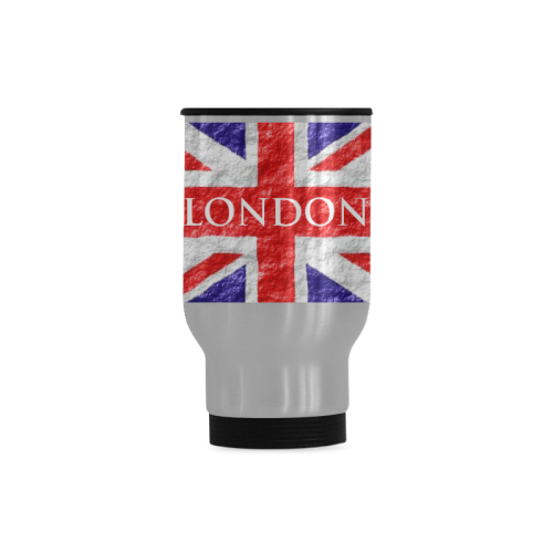 Union Jack Flag Travel Mug (Silver) (14 Oz)