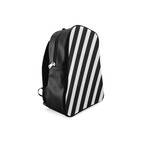 Black And White Stripes Cool Design School Backpack/Large (Model 1601)