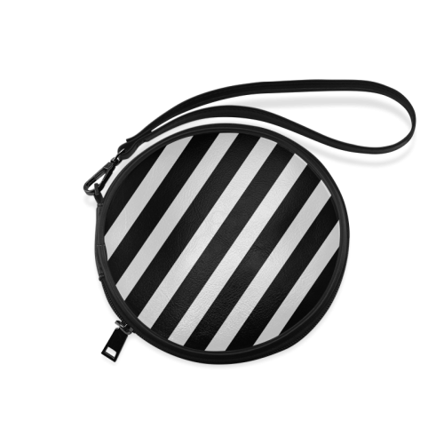 Black And White Stripes Cool Design Round Makeup Bag (Model 1625)
