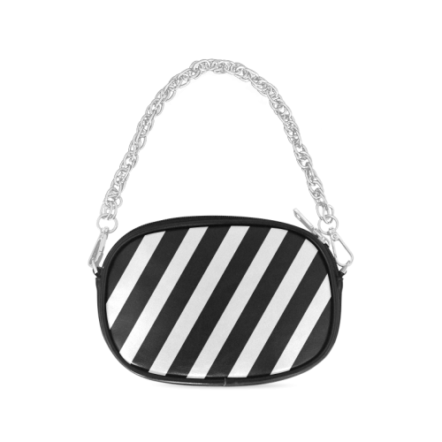 Black And White Stripes Cool Design Chain Purse (Model 1626)