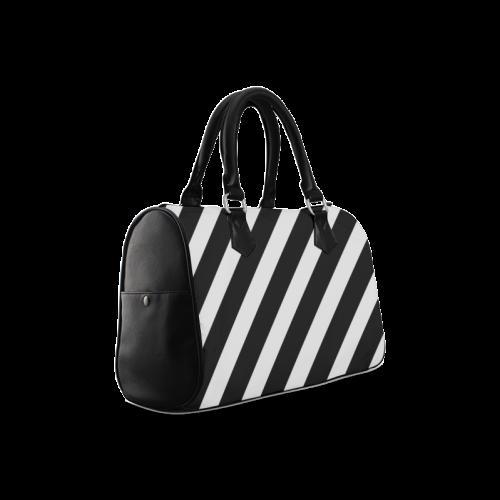 Black And White Stripes Cool Design Boston Handbag (Model 1621)