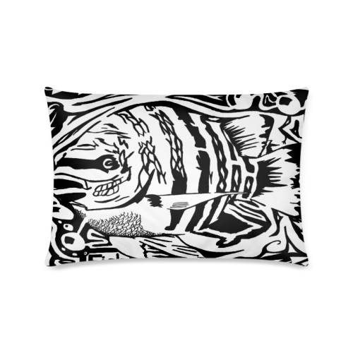 "Black And White Funny Design Fish Custom Zippered Pillow Cases 16""x24""(Twin Sides)"
