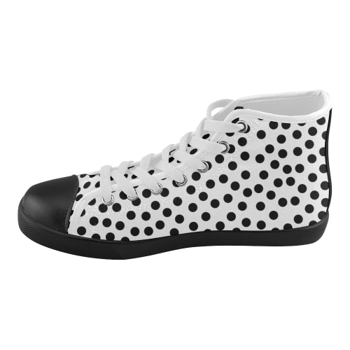 Black Polka Dot Design Women's High Top Canvas Shoes (Model 002)