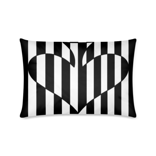 "Black And White Heart Design Custom Zippered Pillow Cases 16""x24""(Twin Sides)"