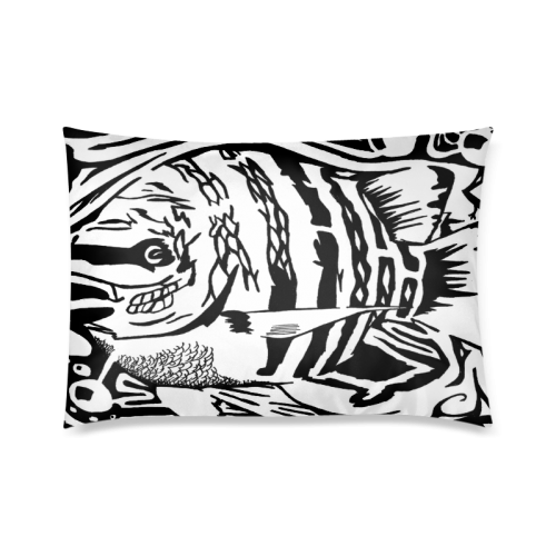 "Black And White Funny Design Fish Custom Zippered Pillow Cases 20""x30""(Twin Sides)"