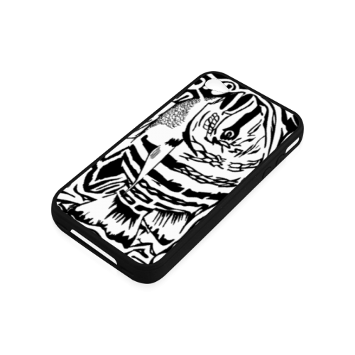 Black And White Funny Design Fish Rubber Case for iPhone 4/4s