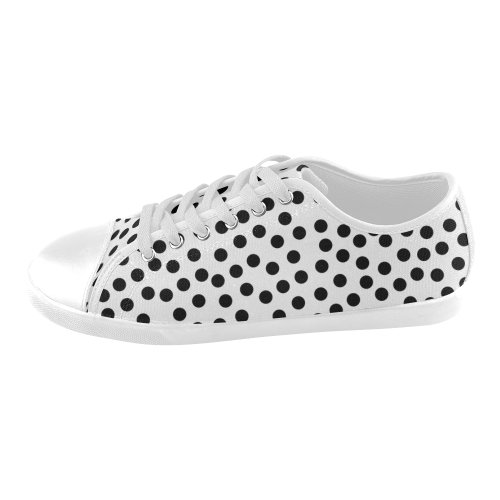 Black Polka Dot Design Women's Canvas Shoes (Model 016)