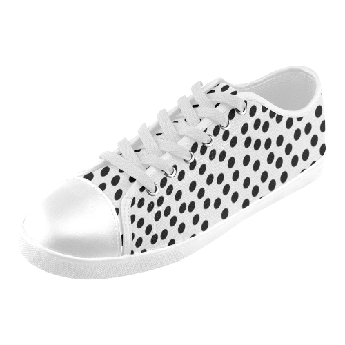 Black Polka Dot Design Women's Canvas Shoes (Model 016)