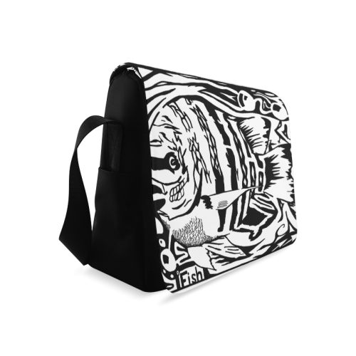 Black And White Funny Design Fish Messenger Bag (Model 1628)