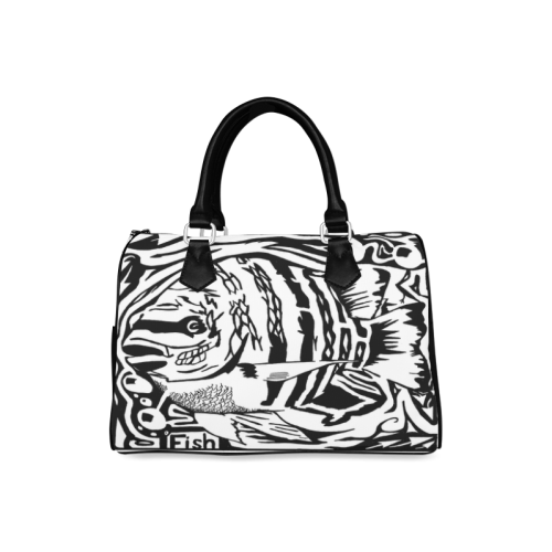 Black And White Funny Design Fish Boston Handbag (Model 1621)