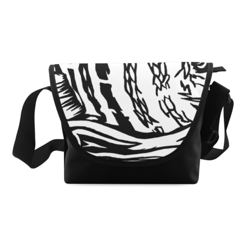 Black And White Funny Design Fish Crossbody Bag/Large (Model 1631)