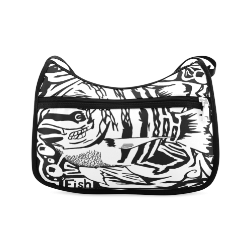 Black And White Funny Design Fish Crossbody Bags (Model 1616)