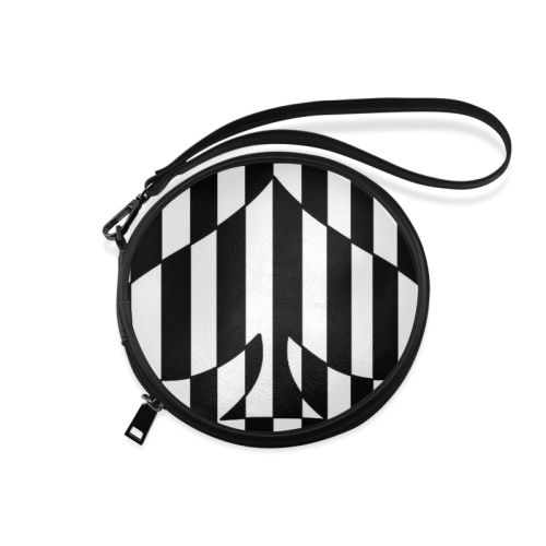 Black And White Heart Design Round Makeup Bag (Model 1625)