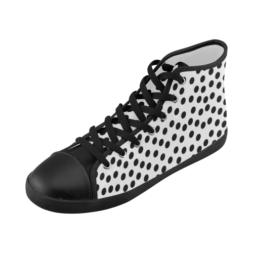 Black Polka Dot Design High Top Canvas Kid's Shoes (Model 002)