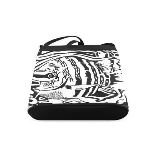 Black And White Funny Design Fish Crossbody Bags (Model 1613)