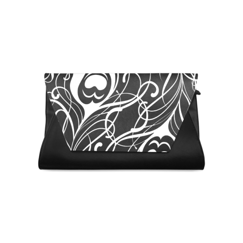 Custom Black And White Peacock Feather Clutch Bag (Model 1630)