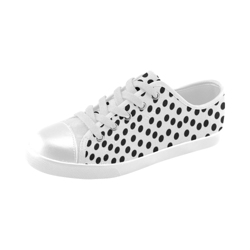 Black Polka Dot Design Canvas Kid's Shoes (Model 016)