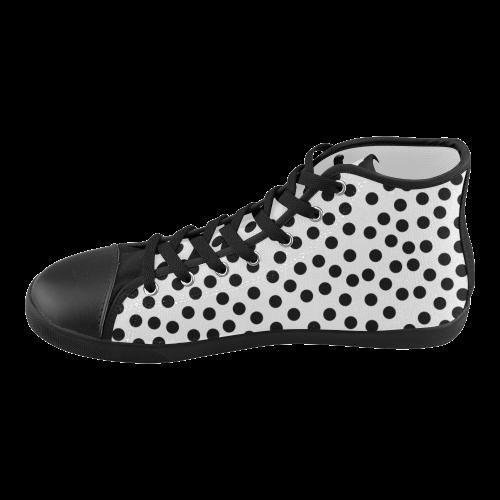 Black Polka Dot Design High Top Canvas Kid's Shoes (Model 002)