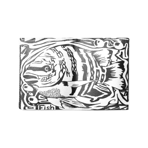 Black And White Funny Design Fish Men's Leather Wallet (Model 1612)
