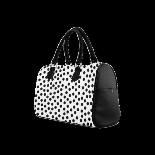 Black Polka Dot Design Boston Handbag (Model 1621)