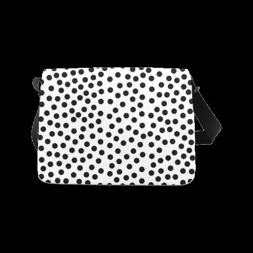 Black Polka Dot Design Messenger Bag (Model 1628)