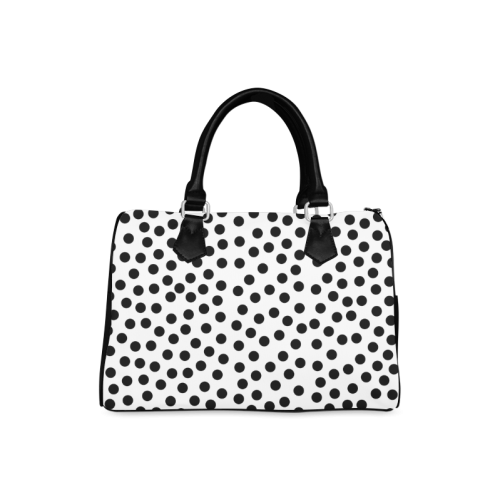 Black Polka Dot Design Boston Handbag (Model 1621)