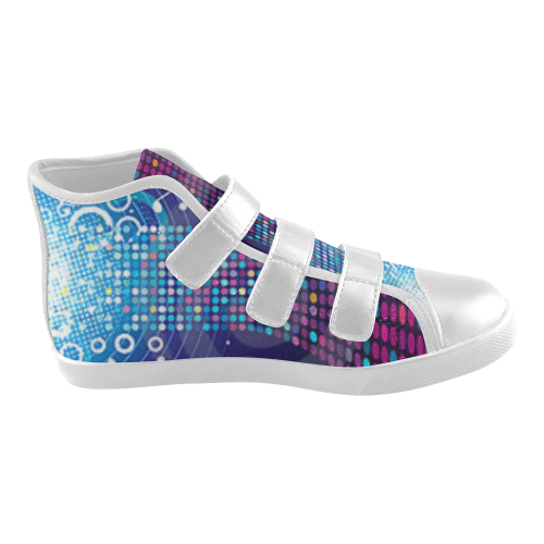 Music Velcro High Top Canvas Kid's Shoes (Model 015)