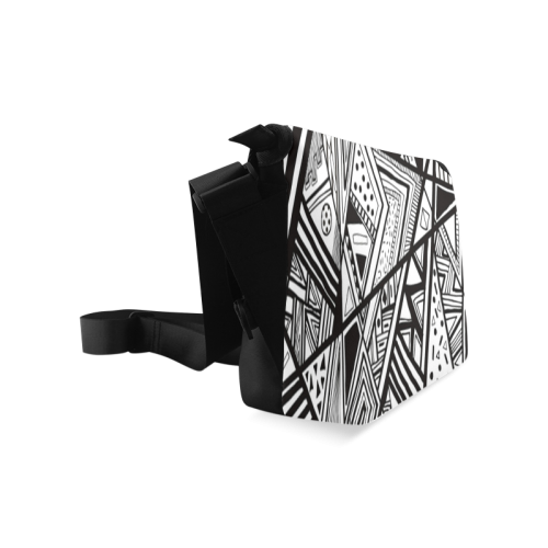Black And White Vintage Pattern Design Crossbody Bag/Large (Model 1631)